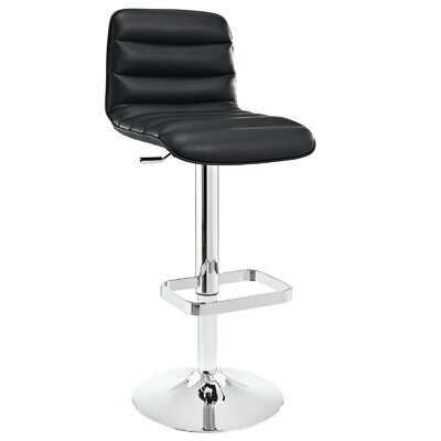 Ripple Adjustable Height Swivel Bar Stool Upholstery: Black