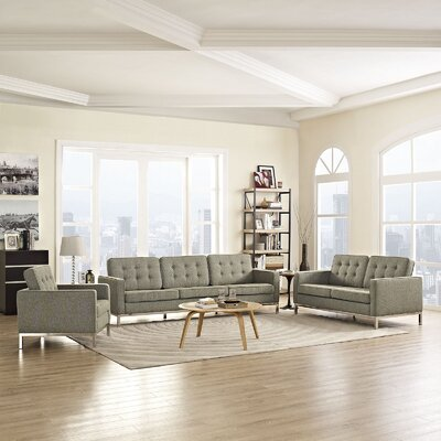 Gayatri Modern 3 Piece Living Room Set Upholstery: Oatmeal