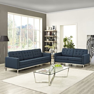 Gayatri 2 Piece Solid Living Room Set Upholstery: Azure