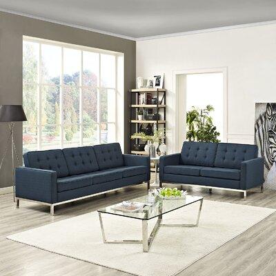 Gayatri 2 Piece Living Room Set Upholstery: Azure