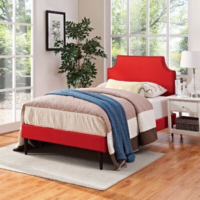 Preciado Upholstered Platform Bed Size: Twin, Color: Atomic Red