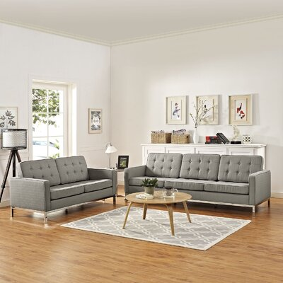 Gayatri 2 Piece Solid Living Room Set Upholstery: Granite
