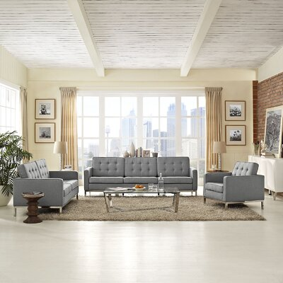 Gayatri Modern 3 Piece Living Room Set Upholstery: Light Gray