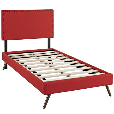 Preiss Upholstered Platform Bed Size: Twin, Color: Atomic Red