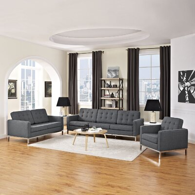 Gayatri Modern 3 Piece Living Room Set Upholstery: Gray