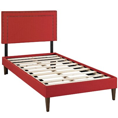 Eyre Upholstered Platform Bed Size: Twin, Color: Atomic Red
