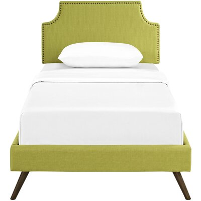Preciado Upholstered Platform Bed Size: Twin, Color: Wheatgrass
