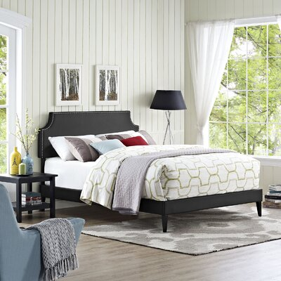 Laura Upholstered Platform Bed Finish White Size Queen