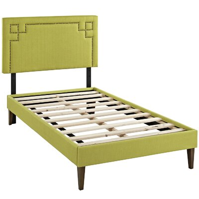 Kerley Upholstered Platform Bed Size: Twin, Color: Wheatgrass