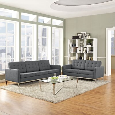 Gayatri 2 Piece Solid Living Room Set Upholstery: Gray