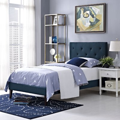Ziemer Upholstered Platform Bed Size: Twin, Color: Azure