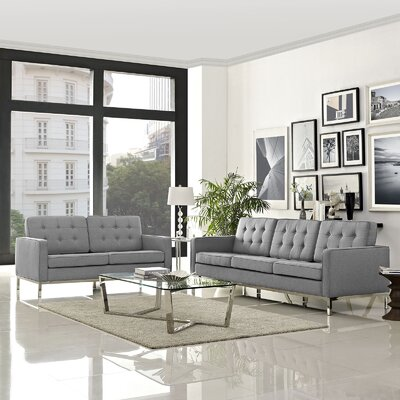 Gayatri 2 Piece Solid Living Room Set Upholstery: Light Gray