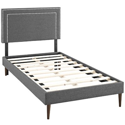 Eyre Upholstered Platform Bed Size: Twin, Color: Gray