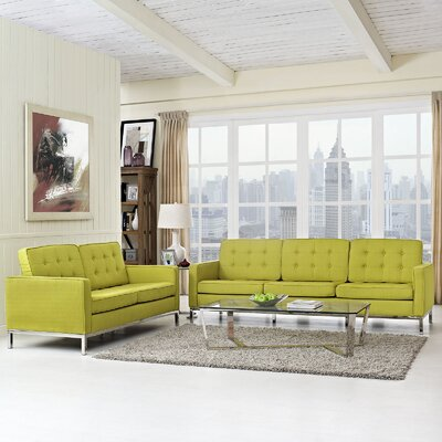 Gayatri 2 Piece Solid Living Room Set Upholstery: Wheatgrass