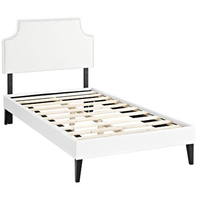 Preciado Metal Frame Upholstered Platform Bed with Round Splayed Legs Finish: White, Size: Twin