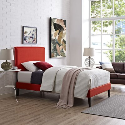 Sardina Upholstered Platform Bed Size: Twin, Color: Atomic Red