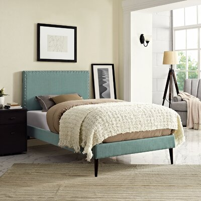 Preiss Upholstered Platform Bed Size: Twin, Color: Laguna