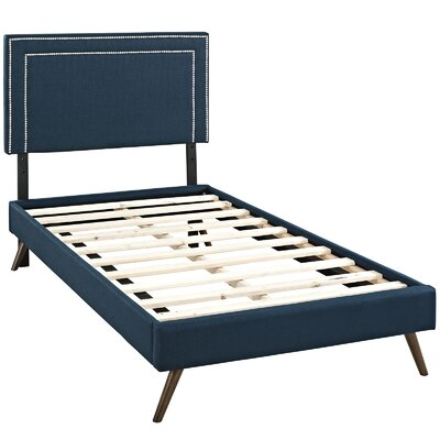 Eyre Upholstered Platform Bed Size: Twin, Color: Azure