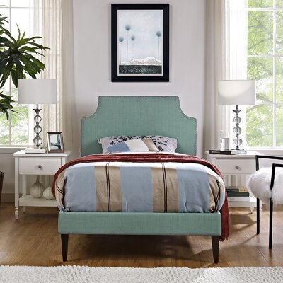 Preciado Upholstered Platform Bed with Squared Tapered Legs Finish: Laguna, Size: Twin