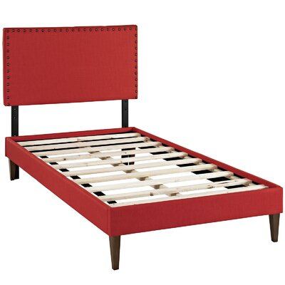Preiss Solid Wood Frame Upholstered Platform Bed Size: Twin, Finish: Atomic Red