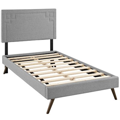 Kerley Upholstered Platform Bed Size: Twin, Color: Light Gray