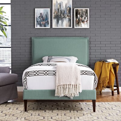Camille Upholstered Platform Bed Finish: Laguna, Size: Queen