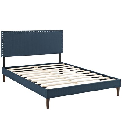 Preiss Solid Wood Frame Upholstered Platform Bed Finish: Azure, Size: Full