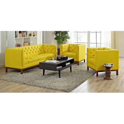 Panache 3 Piece Living Room Set Upholstery: Sunny