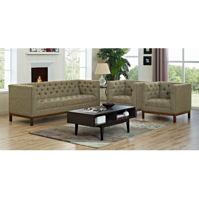 Panache 3 Piece Fabric Living Room Set Upholstery: Oatmeal