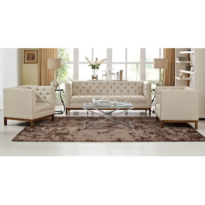 Panache 3 Piece Fabric Living Room Set Upholstery: Beige