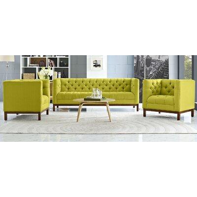 Panache 3 Piece Fabric Living Room Set Upholstery: Wheatgrass