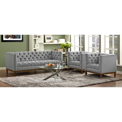 Panache 3 Piece Living Room Set Upholstery: Gray