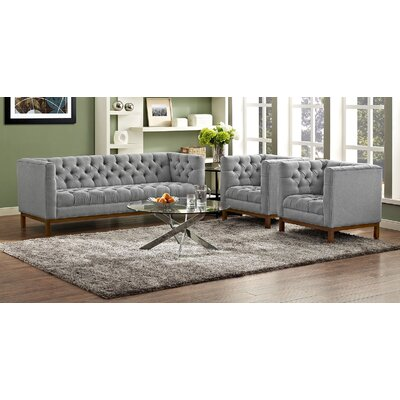 Panache 3 Piece Fabric Living Room Set Upholstery: Expectation Gray