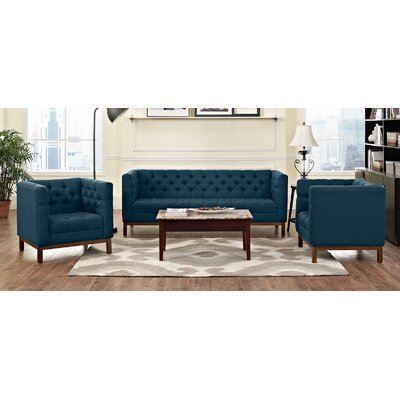 Panache 3 Piece Living Room Set Upholstery: Azure
