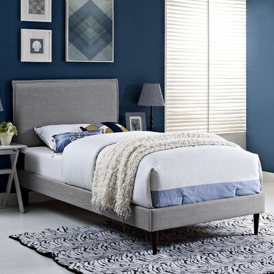 Camille Upholstered Platform Bed Finish: Azure, Size: King