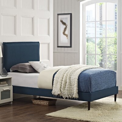Camille Upholstered Platform Bed Size: Twin, Finish: Azure