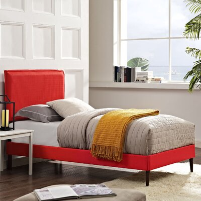 Camille Upholstered Platform Bed Size: Twin, Finish: Atomic Red