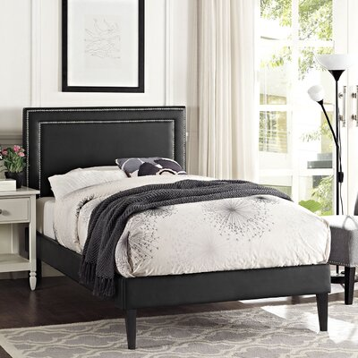 Eyre Upholstered Squared Tapered Legs Wood Platform Bed Size: Queen, Finish: Black