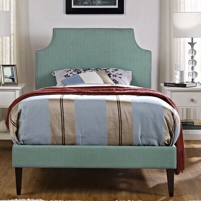 Preciado Upholstered Platform Bed with Squared Tapered Legs Finish: Azure, Size: Full