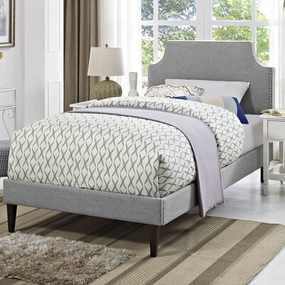 Preciado Upholstered Platform Bed with Squared Tapered Legs Size: Twin, Finish: Light Gray