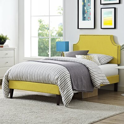 Preciado Upholstered Platform Bed with Squared Tapered Legs Size: Twin, Finish: Sunny