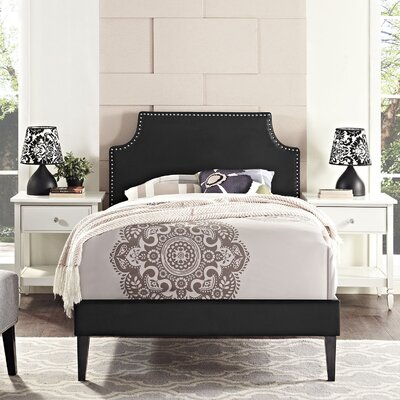 Preciado Metal Frame Upholstered Platform Bed with Round Splayed Legs Finish: Black, Size: Queen