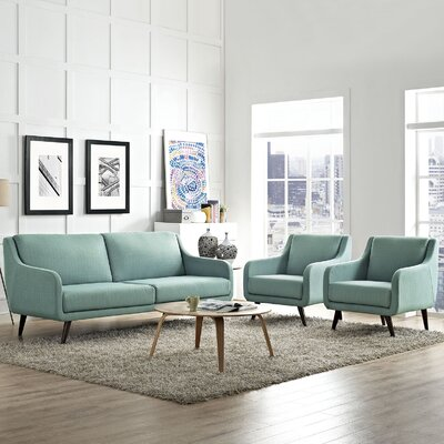 Verve 3 Piece Living Room Set Upholstery: Laguna