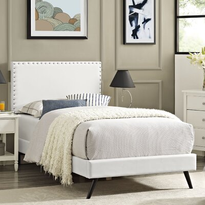 Preiss Wood Frame Upholstered Platform Bed Size: King, Finish: White
