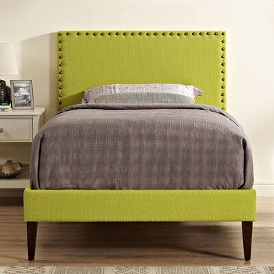 Preiss Solid Wood Frame Upholstered Platform Bed Size: Twin, Finish: Wheatgrass