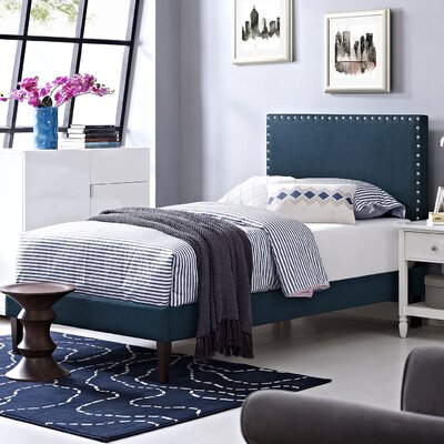 Preiss Solid Wood Frame Upholstered Platform Bed Finish: Azure, Size: Queen