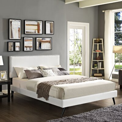 Preiss Wood Frame Upholstered Platform Bed Finish: White, Size: Full