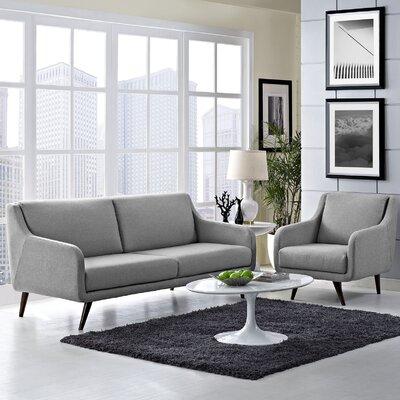 Verve 2 Piece Living Room Set Upholstery: Light Gray