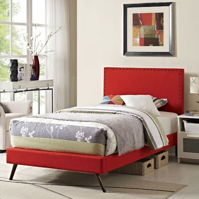 Preiss Upholstered Platform Bed with Round Splayed Legs Size: Twin, Finish: Atomic Red