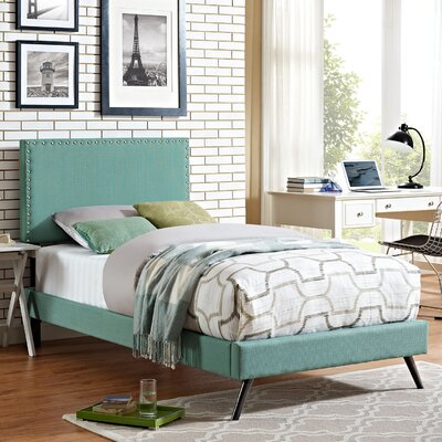 Preiss Upholstered Platform Bed with Round Splayed Legs Finish: Laguna, Size: Twin